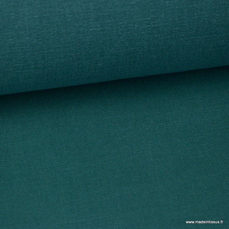 Tissu toile de coton demi natté gratté vintage emeraude