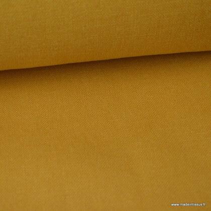 Tissu toile de coton demi natté gratté vintage moutarde