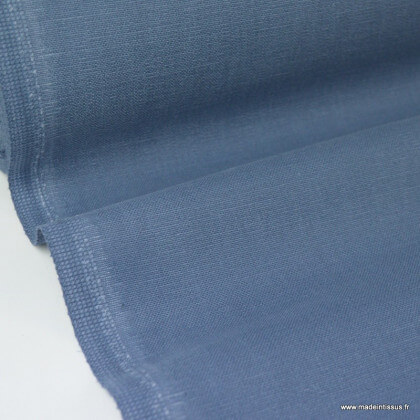Tissu toile de coton demi natté gratté vintage bleu