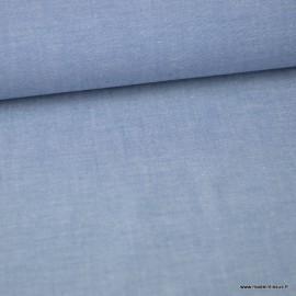 Tissu popeline chambray coloris BLEU DENIM