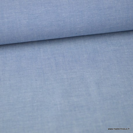 Tissu popeline chambray coloris BLEU DENIM x1m
