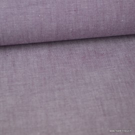 Tissu popeline coton chambray coloris Prune
