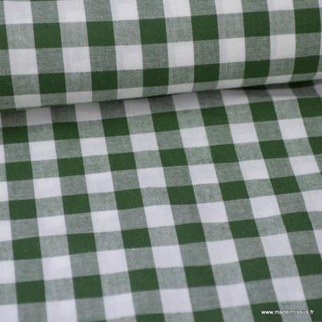 Tissu vichy grands carreaux sur Popeline coloris Vert foncé