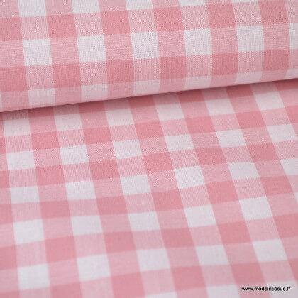 Tissu vichy grands carreaux sur Popeline coloris Vieux Rose
