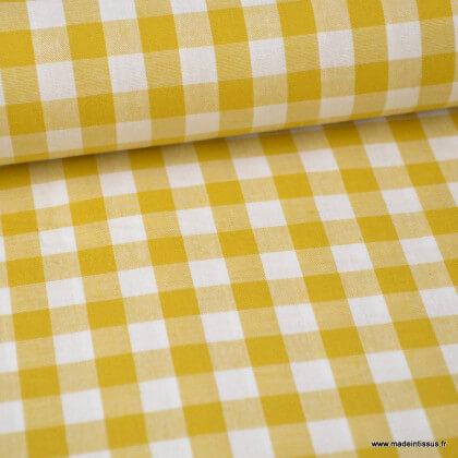 Tissu vichy grands carreaux sur Popeline coloris Moutarde