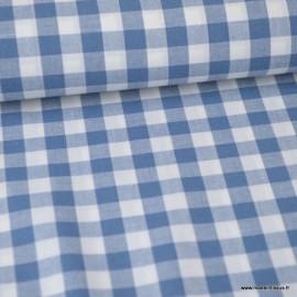 Tissu vichy grands carreaux sur Popeline coloris bleu jean Denim