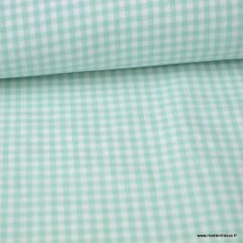 Tissu vichy petits carreaux coton Menthe au mètre