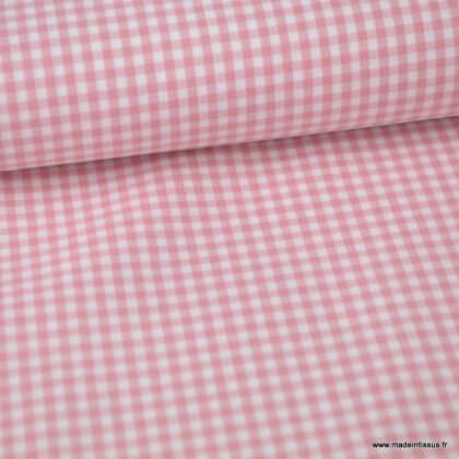 Tissu vichy petits carreaux coton Vieux rose et blanc au mètre