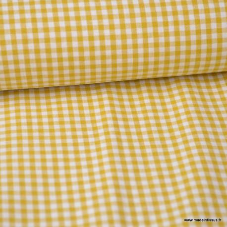 Tissu vichy petits carreaux coton Moutarde et blanc au mètre