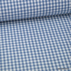 Tissu vichy petits carreaux coton bleu jean et blanc