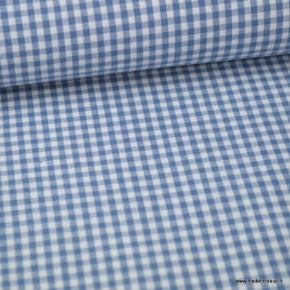 Tissu vichy petits carreaux coton bleu jean et blanc .x1m