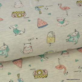 Tissu Jersey imprimé Licornes, flamants, appareils photos, glaces et chats fond écru