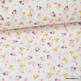 Tissu Double gaze Oeko tex imprimée fleurs roses fond Blanc