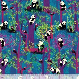 """Coton imprimé """"Panda Forest"""" Fuchsia et Bleu Katy Tanis by Blend Fabrics .x1m"""