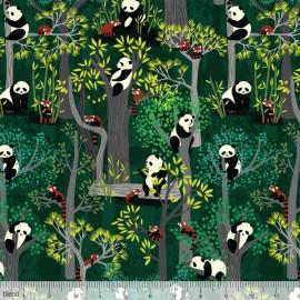 "Tissu Coton imprimé ""Panda Forest"" Vert Katy Tanis by Blend Fabrics .x1m"
