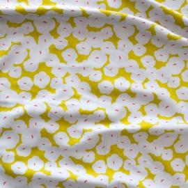 """Tissu Bio Viscose Rayon coton à fleurs jaune et grises """"Business Class"""" by Cloud9 .x1m"""