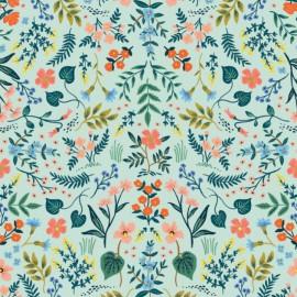 Tissu coton prenium imprimé fleurs métallique fond menthe collection Wildwood by Cotton and Steel .x1m