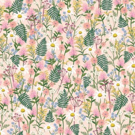 Tissu coton imprimé fleurs fond rose collection Wildflowers de Rifle paper pour Cotton and Steel .x1m
