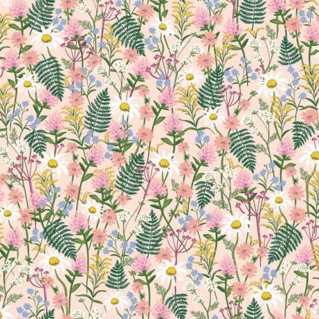 Tissu coton imprimé fleurs fond rose collection Wildflowers de Rifle paper pour Cotton and Steel .x1m
