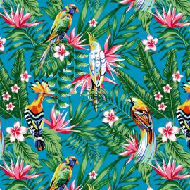 Tissu Bachette exotique imprimé Toucans et perroquets fond Bleu