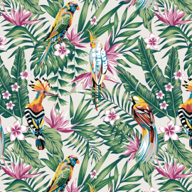 Tissu Bachette grande largeur exotique imprimé Toucans et perroquets fond Ecru
