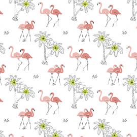 Tissu coton imprimé Flamants et palmiers Corail fond blanc