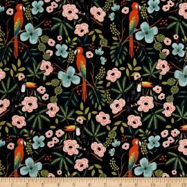 Tissu coton prenium imprimé Perroquets Ménagerie by Cotton and Steel .x1m