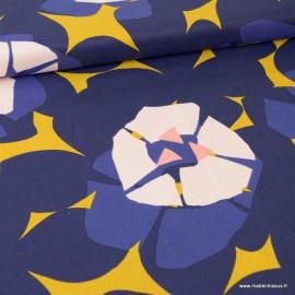 Tissu coton RICO design Grosses fleurs Marine, moutarde et rose Collection Okina Hana