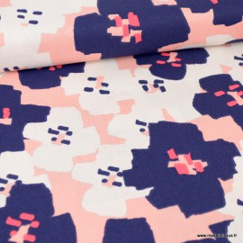 Tissu coton RICO design Petites fleurs Marine et rose Collection Okina Hana