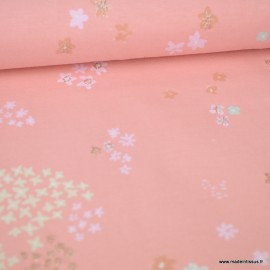 Tissu Jersey RICO design - Jardin de Fleurs rose et Or