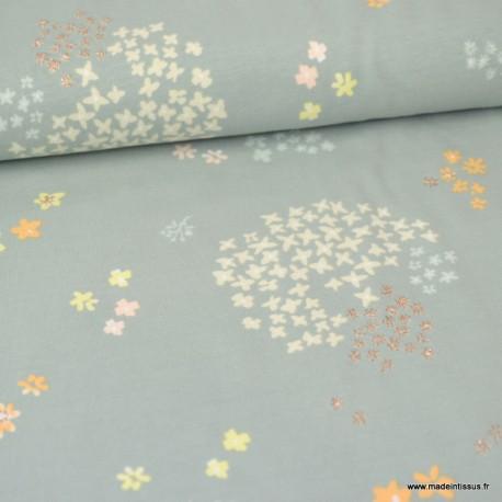 Tissu Jersey RICO design - Jardin de Fleurs Gris et Or