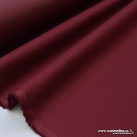 Tissu gabardine sergé polyester coton coloris bordeaux