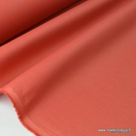 Tissu gabardine sergé polyester coton coloris tomette