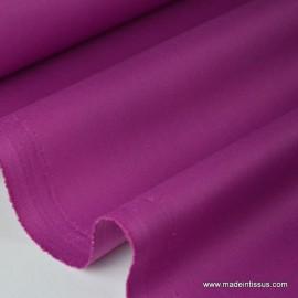 Tissu gabardine sergé polyester coton coloris fuchsia