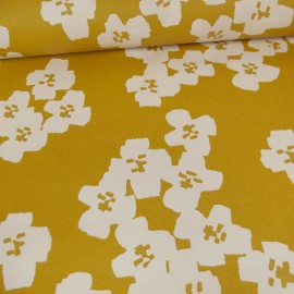 Tissu coton enduit RICO design fleurs Moutarde Collection Okina Hana