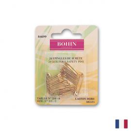 Epingles de sûreté à ressort, en laiton doré Bohin x24