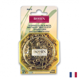 Epingles de sûreté à ressort 28mm en laiton doré Bohin x76