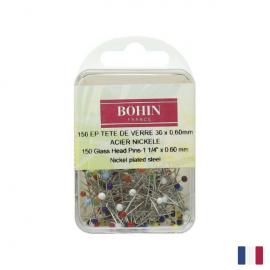 Epingles tête de verre extra fines Bohin, 30 X 0.60 mm