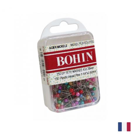 Epingles tête nacrées assorties Bohin 30 x 0.60mm
