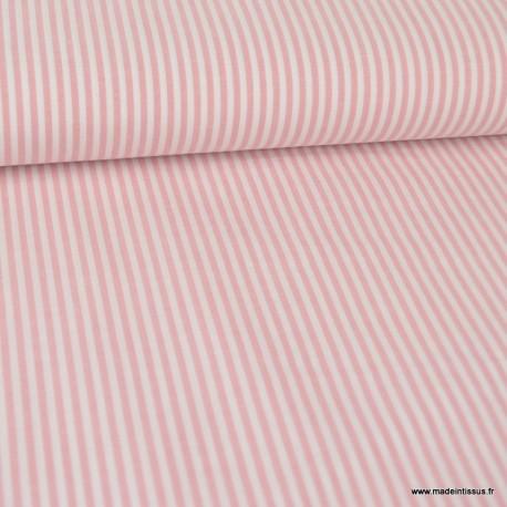 Tissu popeline à rayures Vieux roses et blanches tissé teint