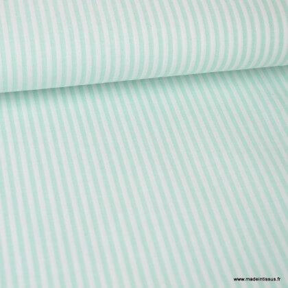 Tissu popeline à rayures Menthe et blanches tissé teint