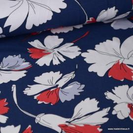 Tissu jersey Viscose imprimé fleurs rouges et grises fond marine