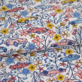 Tissu coton Oeko tex imprimé Voitures et fleurs by POPPY x1m