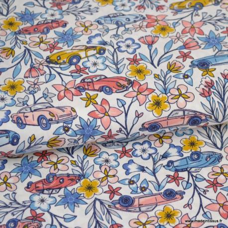Tissu coton Oeko tex imprimé Flamants et fleurs fond rose by POPPY x1m