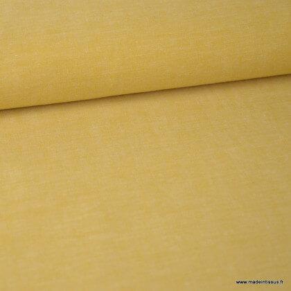Tissu popeline coton chambray coloris Moutarde