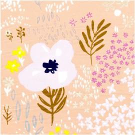 Tissu coton RICO design collection champs de fleurs jaune et parme métallisé sur fond Rose