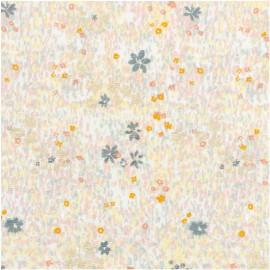 Tissu coton RICO design collection champs de fleurettes gris et métallisé