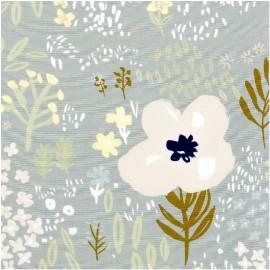 Tissu coton RICO design collection champs de fleurs saumon et gris métallisé