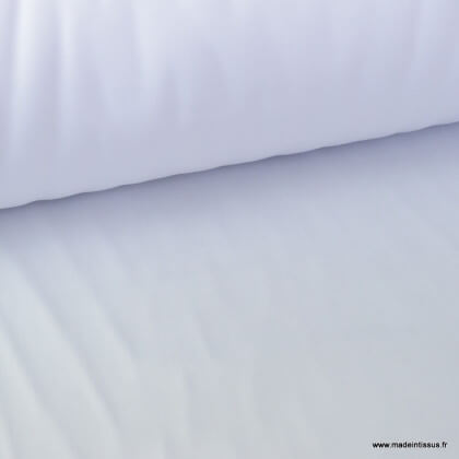 Tissu gabardine sergé polyester coton coloris blanc