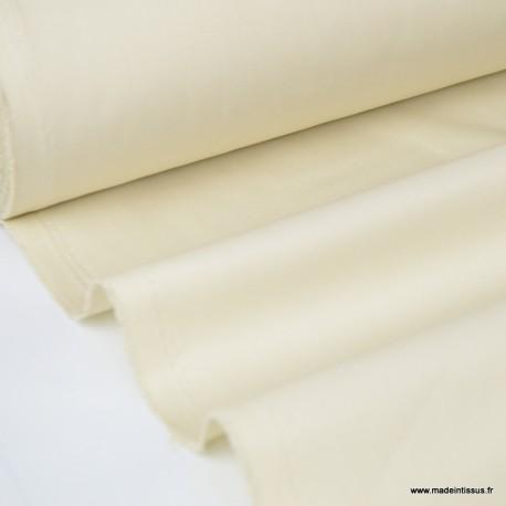 Tissu gabardine sergé polyester coton coloris écru